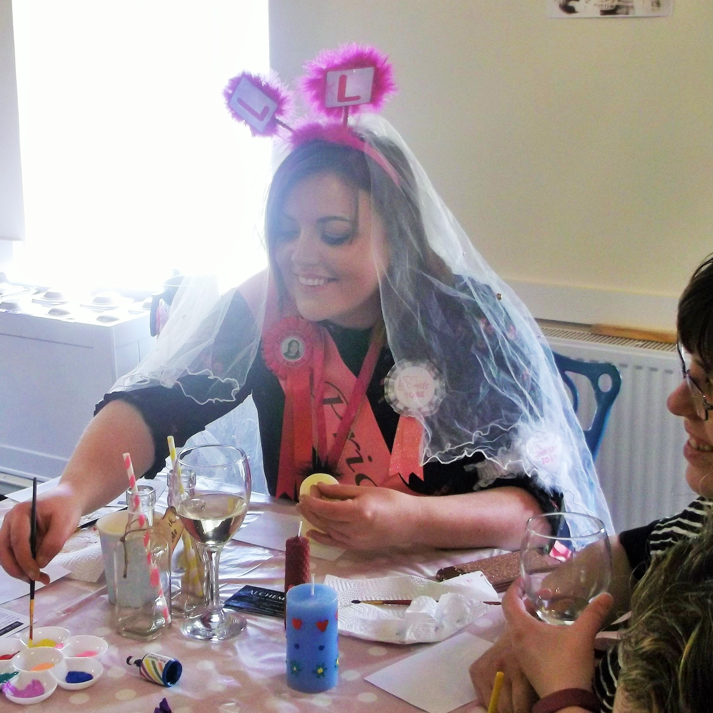 Hen Party decorating candles