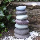 pebble stack candle