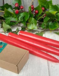 hand dipped taper candles - red